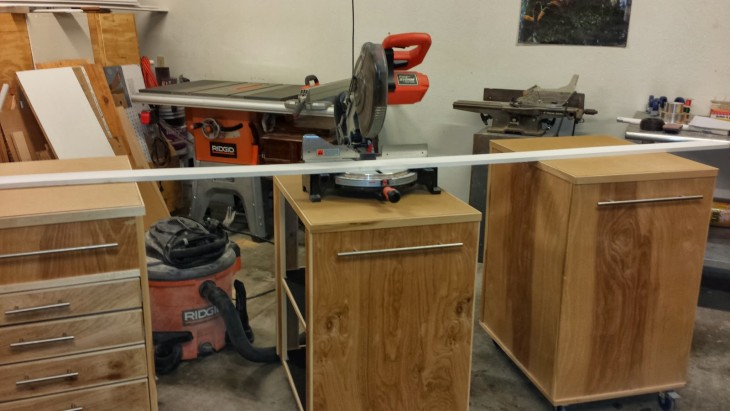 Miter Saw Cabinet Set Lower So The Others Act As  Supports